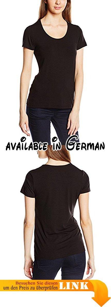 Trigema Damen T-Shirt 542201, Gr. 56 (Herstellergröße: XXXL), Schwarz (Schwarz 008). Tiefer Rundhals-Ausschnitt. Elastischer Single-Jersey aus Viskose. Figurbetonter Schnitt. Weiter Ausschnitt. Halbarm #Apparel #SHIRT
