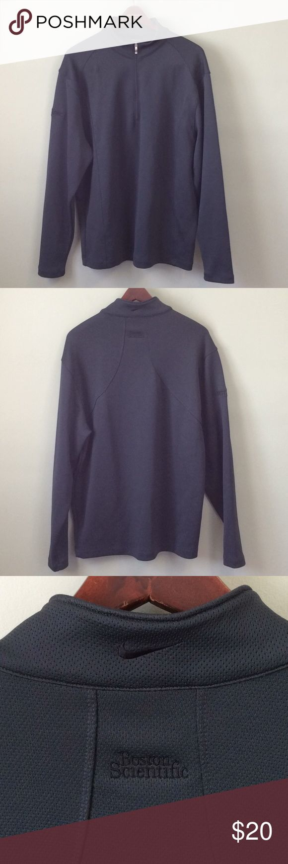 """NIKE GOLF Mens Gray Pullover Jacket NIKE GOLF Mens Gray Pullover Jacket Size Large 1/2 Zip Long Sleeve Chest-23"""" Sleeve-20"""" Length-30"""" Excellent condition Logo patch on arm- ROTAPRO Logo On back of neck- Boston Scientific Nike Sweaters Zip Up"""