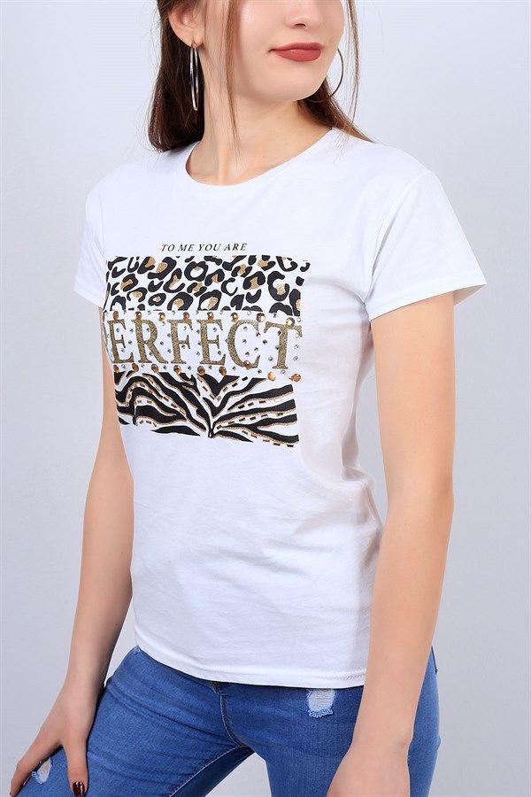 20 95 Tl Beyaz Tasli Bayan Tisort 12811b Modamizbir Tisort Mankenler Tisort Modelleri