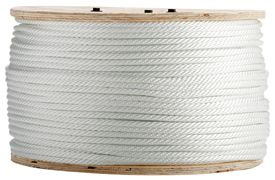 Solid Braid Nylon Rope -  	 Stays firm and round over pulleys; yet flexible, good elasticity.  Meets Federal Specification MIL-C-43307.  Properties: excellent shock absorption; UV, rot, mildew, and chemical resistant