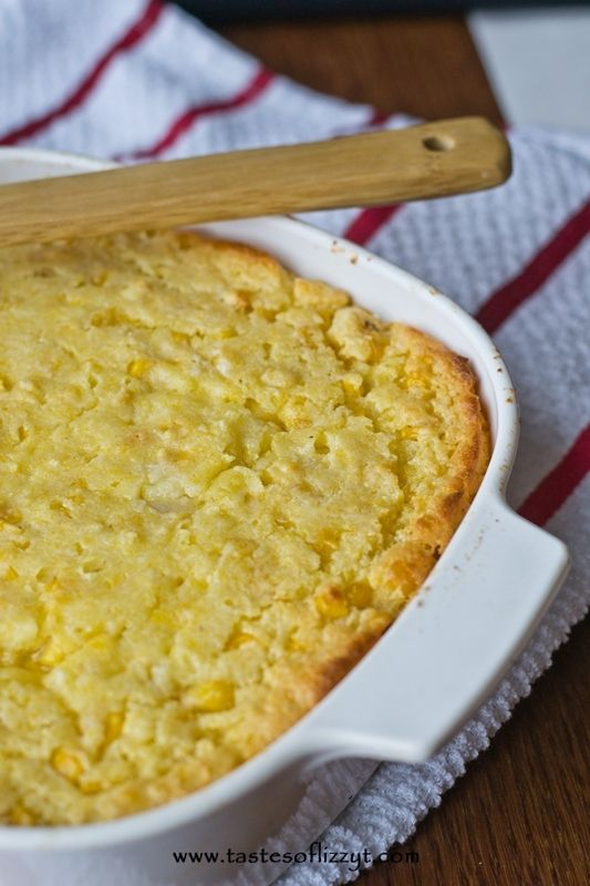 1 stick of butter, 1 can creamed corn, 1 can corn, 1 cup sour cream, 1 box jiffy corn bread mix. Bake at 350 for 50 mins.