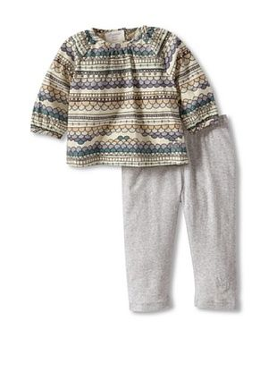 60% OFF Bonnie Baby Baby Print Blouse and Legging Set (Grey)