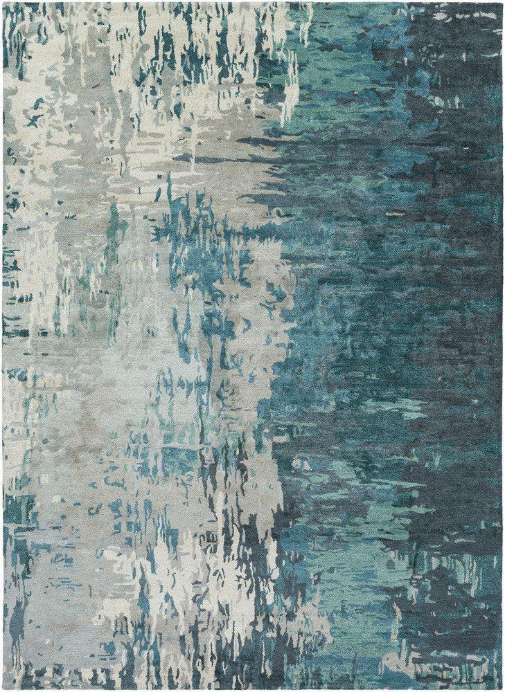 Best Banshee Teal Beige Area Rug Abstract Rug Modern Rugs 400 x 300