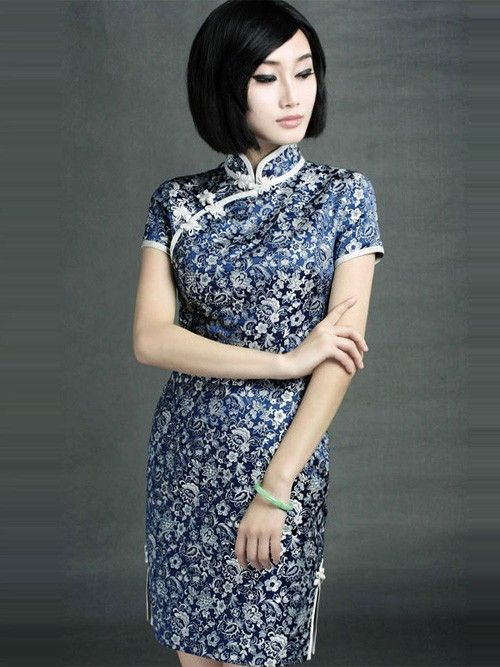 Silk Blue Floral Qipao / Cheongsam / Chinese Evening Dress