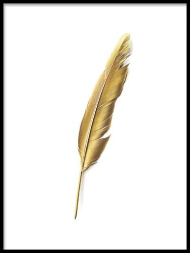 A decorative art poster with a gold feather illustration. This sleek and stylish print of a golden feather will look really nice in both a black and white frame. For a trendy gallery wall, mix and match with our other fancy posters and art prints. Desenio.co.uk