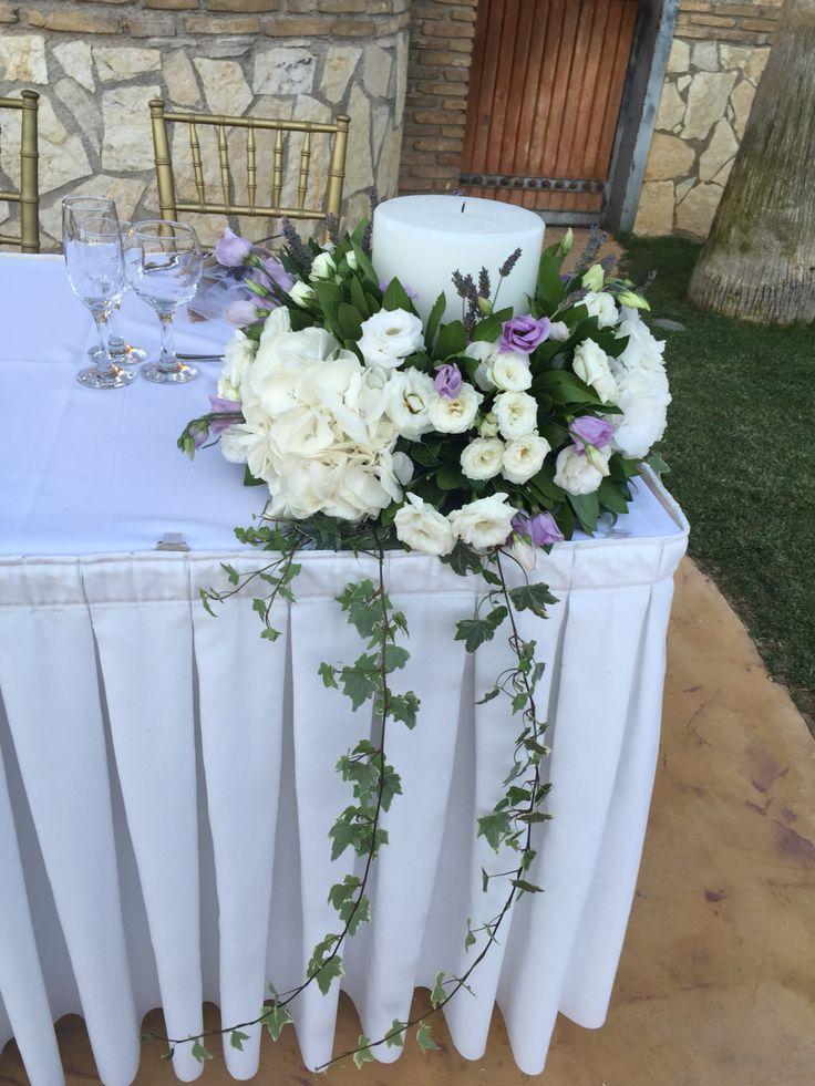 Λαμπάδα γάμου με λεβάντα ορτανσια λευκή και λισιανθο