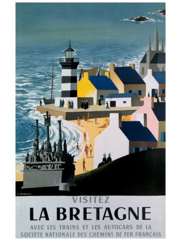 Vintage Travel Poster - France - Brittany - Lighthouse
