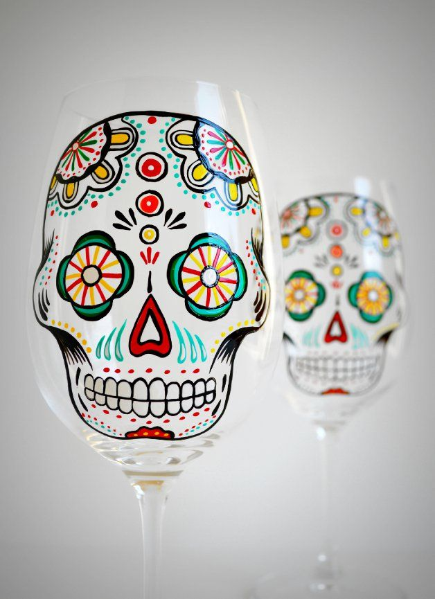 shop boots usa online Sugar Skull Wine Glasses hand painted by MaryElizabethArts com Perfect for entertaining this Halloween
