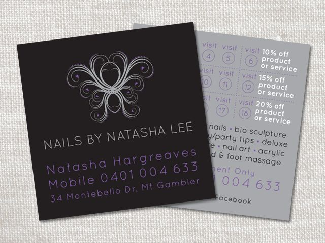 Business cards for Nails by Natasha Lee. Silver ink printing. #businesscards #stationery #printing #juliareader