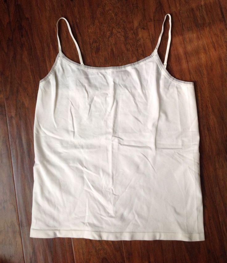 Women's Ann Taylor Stretch Camisole Cami White Size L Large Adjustable Straps | eBay