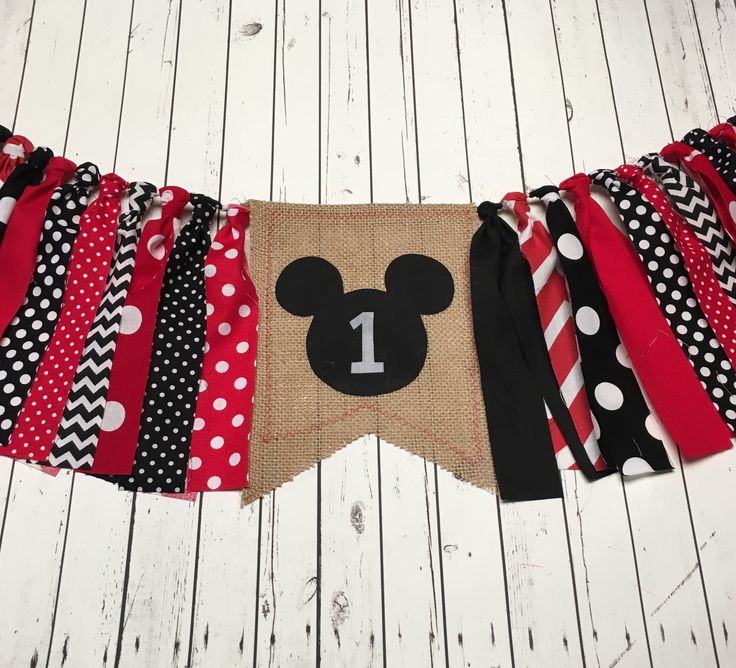 WEEKEND SALE Ends Sunday Classic Mickey Mouse Birthday Banner Highchair Garland/Banner/Bunting ,Photo Prop, Rag Tie High Chair Banner by StuffSoSimple on Etsy https://www.etsy.com/listing/566412375/weekend-sale-ends-sunday-classic-mickey