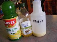Homemade Pledge, this stuff works really well. Used it on all the wood in the house.