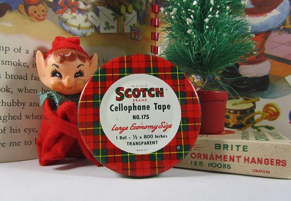 Scotch Tape Tin Vintage Ad Litho Container Red & Green Plaid Cellophane Roll No. 175 Retro Tartan Decor Box with Tiny Gold Straight Pins