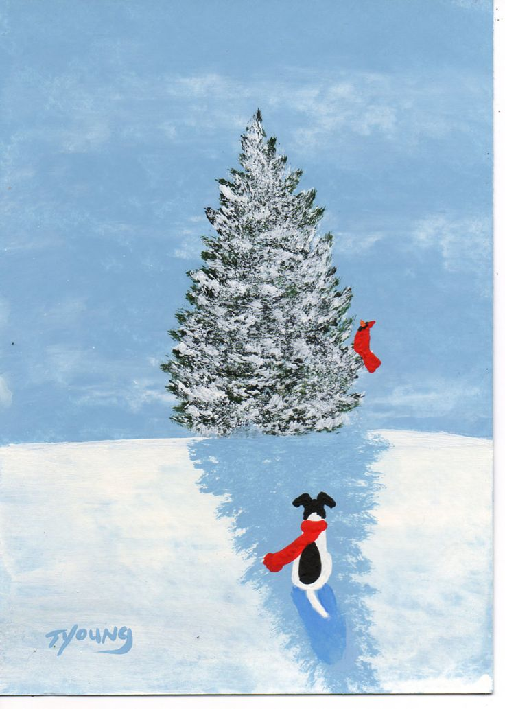 Smooth Fox Terrier Dog Modern Folk Art PRINT of Todd Young painting New Snow. $12.50, via Etsy.