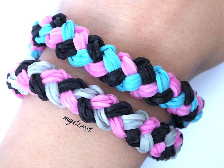 Pulsera de gomitas trenza doble | Double braid bracelet #raimbowloom #pulserasdegomitas #pulserasdeligas #DIY #pulseras