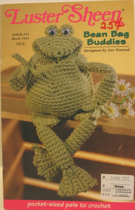 Crochet Patterns Bean Bag Animals, Bean Bag Buddies,Luster Sheen Bean Bag Frog, Bean Bag Elephant, Bean Bag Fish, Bean Bag Pig, Lady Bug