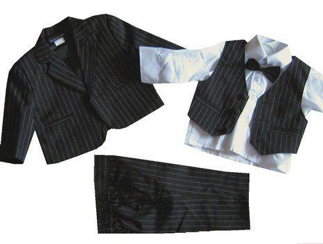 5tlg. Taufanzug Baby-Anzug Nadelstreifen schwarz Gr. 62 = ca. 3 Monate (fällt groß aus)