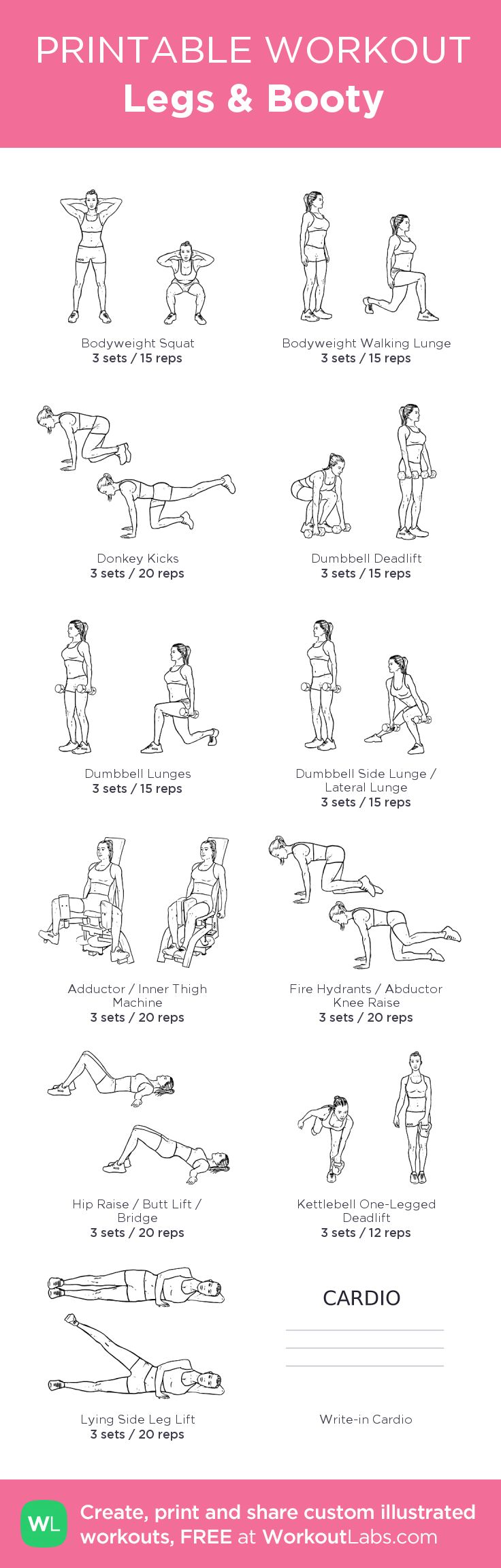 Legs & Booty: my visual workout created at WorkoutLabs.com • Click through to customize and download as a FREE PDF! #customworkout