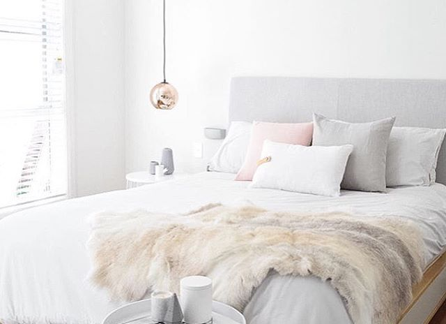 The beautiful bedroom of @ournordichome featuring our rosewood and grey cushions from our collaboration linen cushion range with @lambandstine