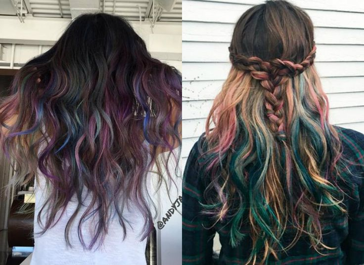 Do not get despaired! Hair colorists have thought of solution you can easily adopt. Oil slick hair colors 2017 for brunettes will be good new season start.