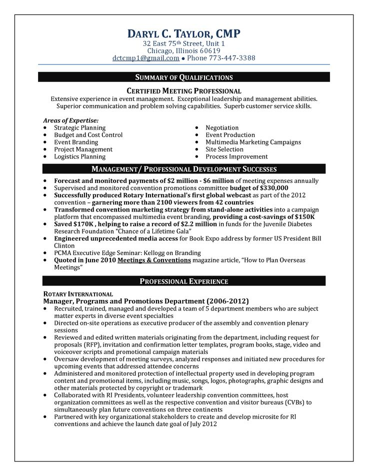 8 best resume images on Pinterest Planners, Infographics and - event management resume