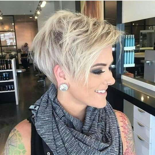 Blonde mid-pixie hair cut