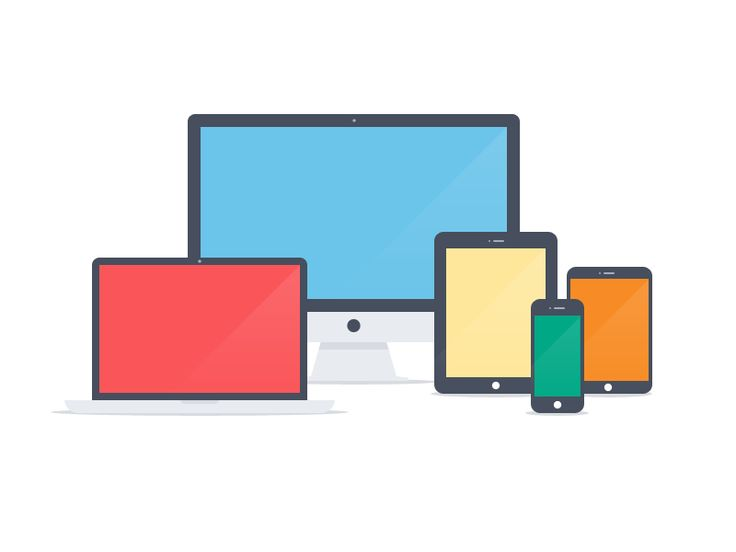 Apple devices - Flat icons (PSD) by Pierre Borodin