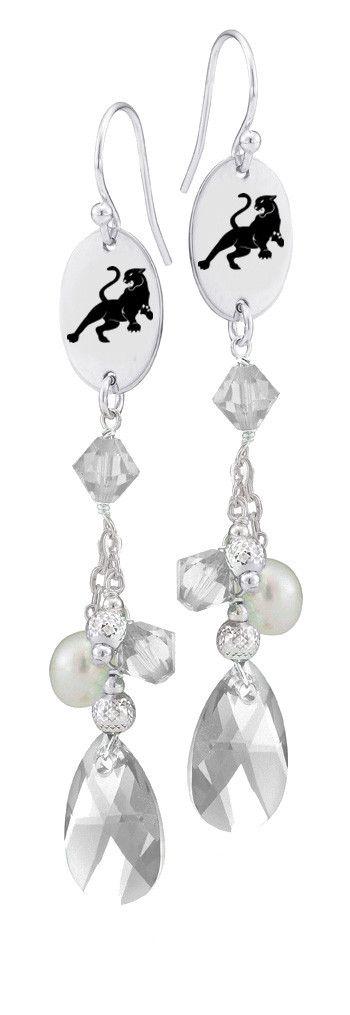 Sigma Lambda Gamma Symbol Clear Crystal and Freshwater Pearl Earrings