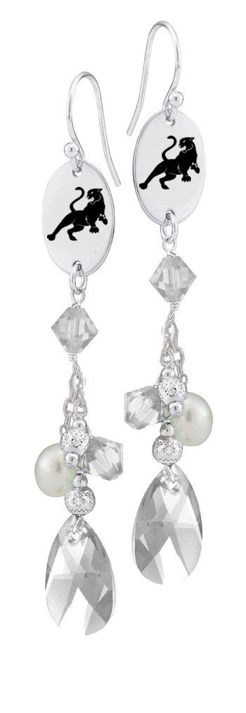 Sigma Lambda Gamma Symbol Clear Crystal and Freshwater Pearl Earrings