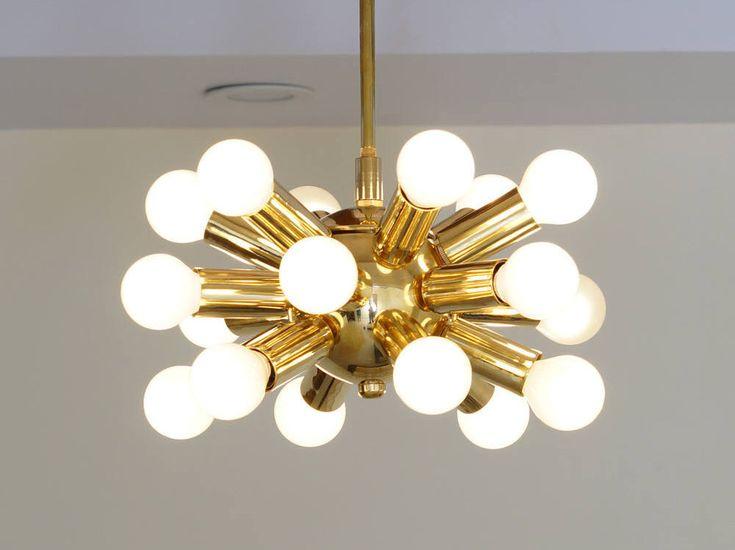 """Gorgeous Mid Century Modernist Inspired Brass Sputnik Chandelier Ceiling Light Lamp 18 bulb 10"""" diam by InscapesDesign on Etsy https://www.etsy.com/uk/listing/550583041/gorgeous-mid-century-modernist-inspired"""