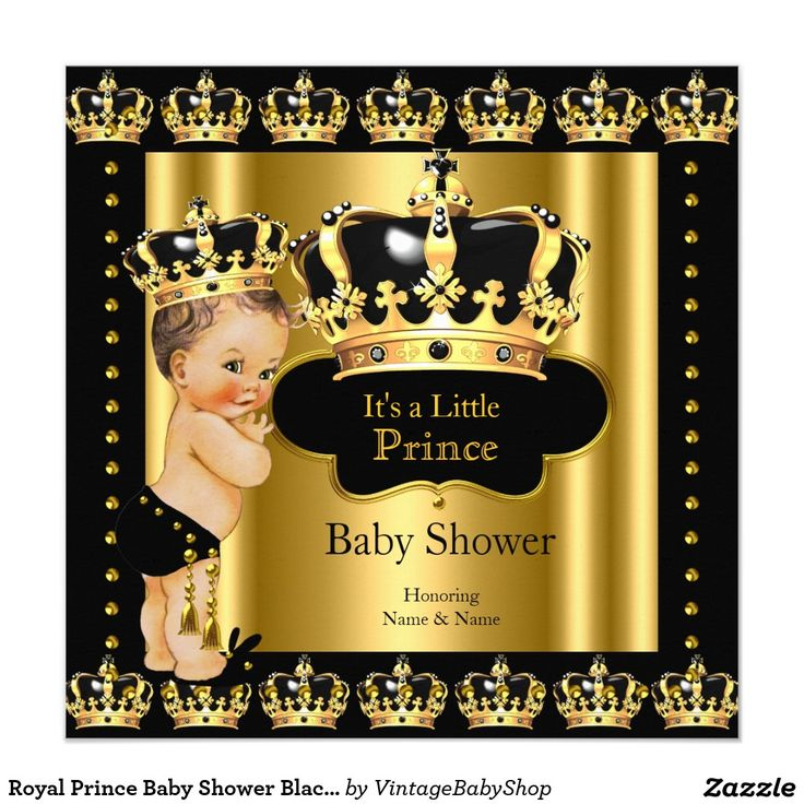 Royal Prince Baby Shower Black Gold Crown Card