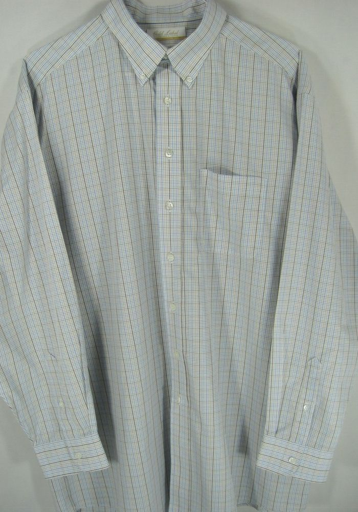 Roundtree Yorke Men L/S Big Tall Shirt Size 17 Inch Neck 35 Inch Sleeves.  #RoundtreeYorke #ButtonFront