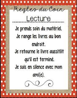 Règles du coin lecture http://laclassedekarine.blogspot.ca/