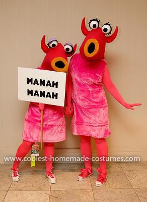Homemade Muppet Manah Manah Couple Costume: After being inspired by the Jim Hensen exhibit, my friend and I knew we had to try and make our own Snowth costumes from the famous Muppet Show sketch
