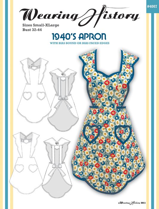 1940's Apron Pattern - Wearing History $12.50   http://www.wearinghistorypatterns.com/1940s-apron-pattern/: Craftsew Ideas, Sewing Aprons Patterns, Aprons Craftasticfun, Vintage Sewing, 1940 S Aprons, Crafts Sewing Ideas, Wear History, 1940S Aprons, Sewing Patterns