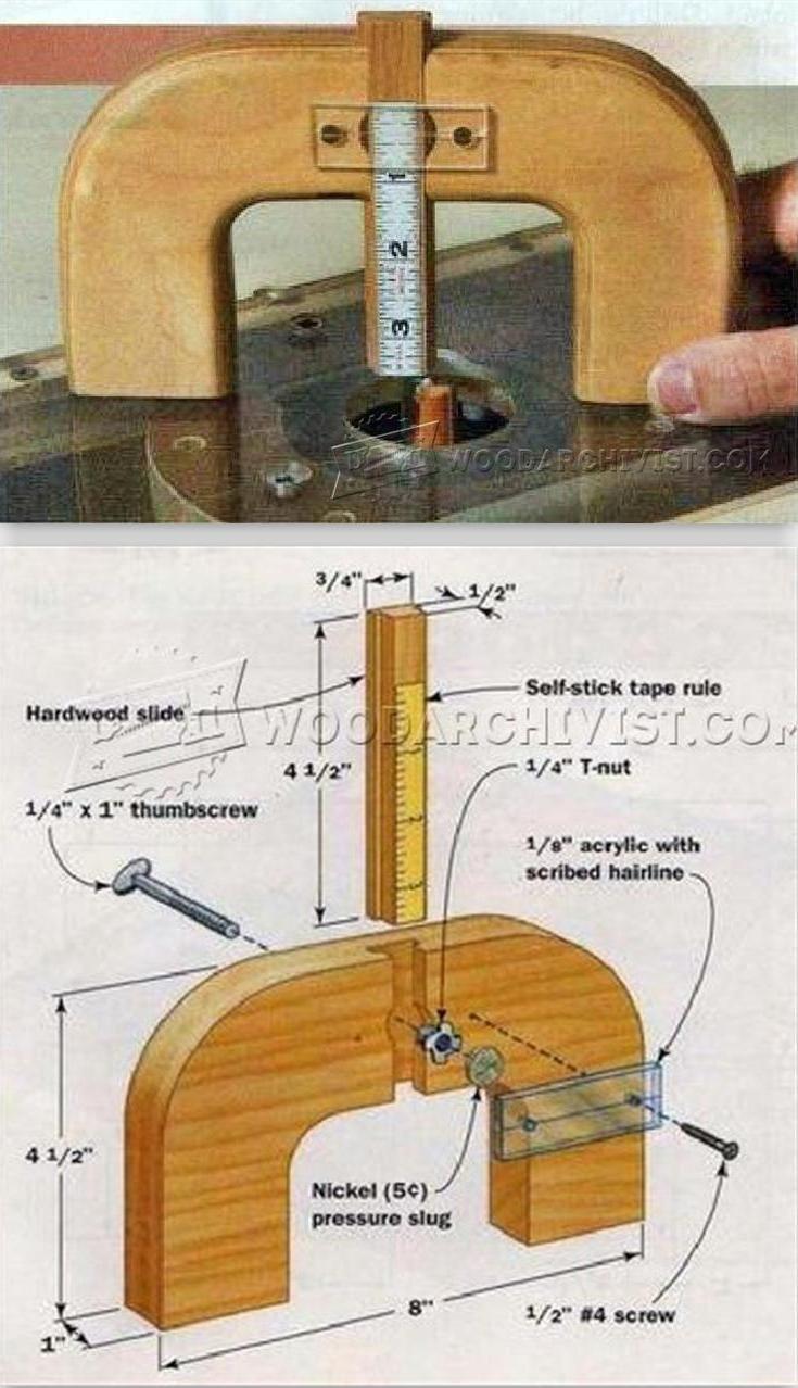 Router Depth Gauge - Marking Tips, Jigs and Techniques   WoodArchivist.com