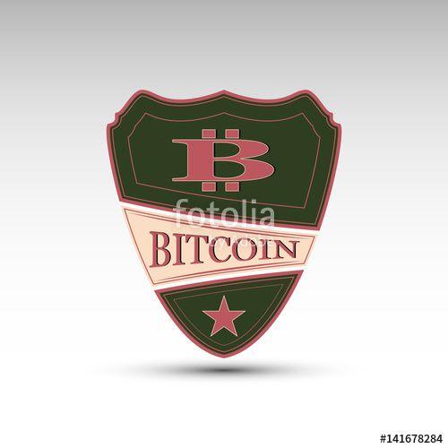 Вектор: The vector shield with symbol bitcoin