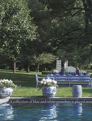 AESTHETICALLY THINKING Love the bluestone and the water color too! #chinoiserie #outdoorliving