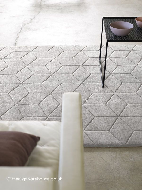 Illusory Light Grey Rug, a hand-tufted 100% wool rug http://www.therugswarehouse.co.uk/clearance/illusory-light-grey-rug.html #interiors #rugs