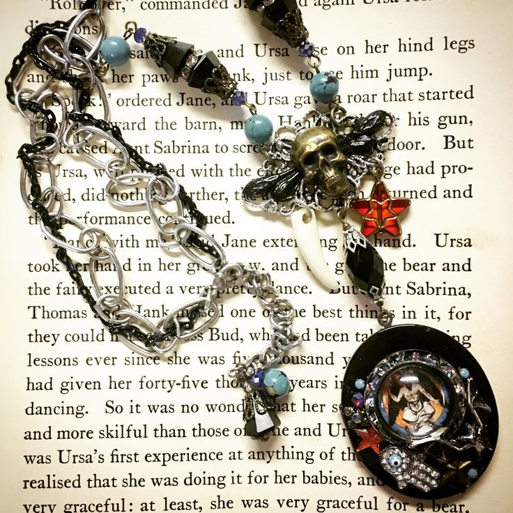 Esoterica - Baphomet Art Deco inspired vintage assemblage locket necklace with antique English jet and 1920's Egyptian turquoise by Jeanie Schlegel for Seditious Jewelry on Etsy.