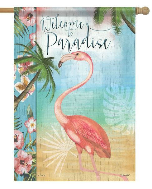 Welcome To Paradise Flamingo House Flag Flamboyant Flamingos Garden Patio Decor Flamingo Garden House Flags Garden Flags