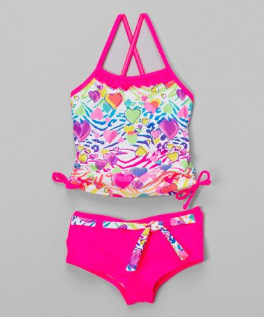 Another great find on #zulily! Hot Pink Zebra Hearts Tankini - Girls #zulilyfinds