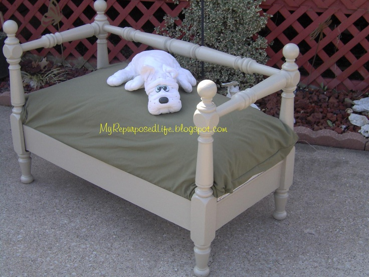 Dog bed made from a twin bed crafty pinterest twin for Pet bunk bed gallery