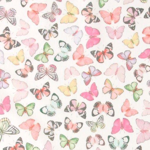 Woven oil cloth pastel color butterflies - Stoff & Stil