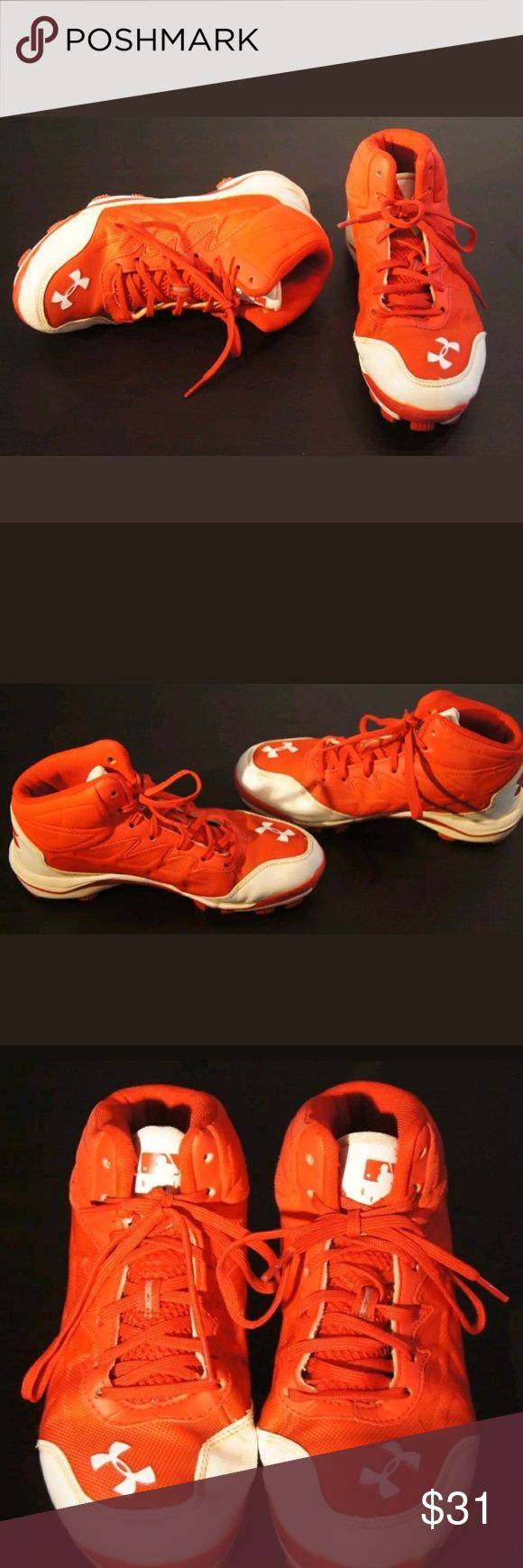 """UNDER ARMOUR BOUND BASEBALL SOFTBALL SPIKES CLEATS Imported.  Art. No. 1246696-611.  Euro size: 38.5.  Lace up.  Man made upper.  UPPER: Synthetic and Textile. UPPER LINING: Textile. OUTSOLE: Rubber.  Authentic Collection.  Rotational Traction.  Made them for athletes.  Without any rips or holes.  High quality.  Satisfaction guaranteed.  Great price.  Excellent purchase choice. You will not regret.  """"THEY HAVE A FEW LITTLE STAINS. PLEASE SEE PICTURES"""". Under Armour Shoes Sneakers"""