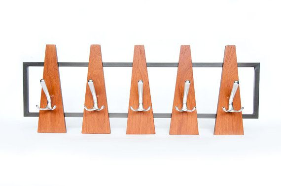 1960s Minimalist Teak Wood Coat Rack Vintage Mid Century Hat Rack Peg Rack Aluminium Hooks Wall Mounted Rack