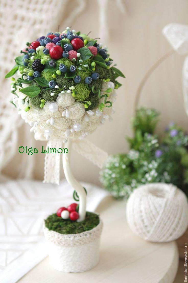 """Купить Дерево """"Эчиканвоке"""" с ягодами!!! - топиарий, ягоды, ягоды и листья, ягоды из полимерной глины, ягодный"""