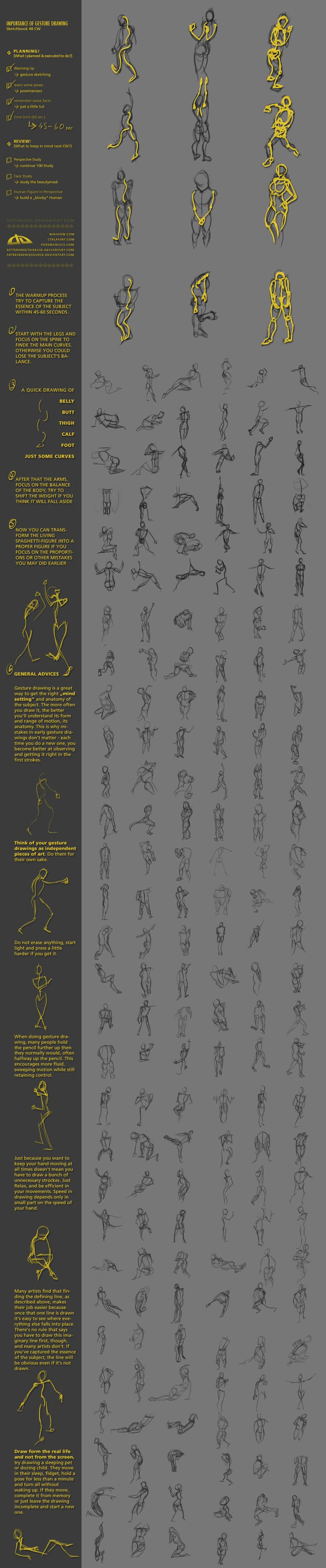 "#Tutorial ""Importance of gesture drawing Sketchbook 48 CW"" by JustIRaziel.deviantart.com on #deviantART"