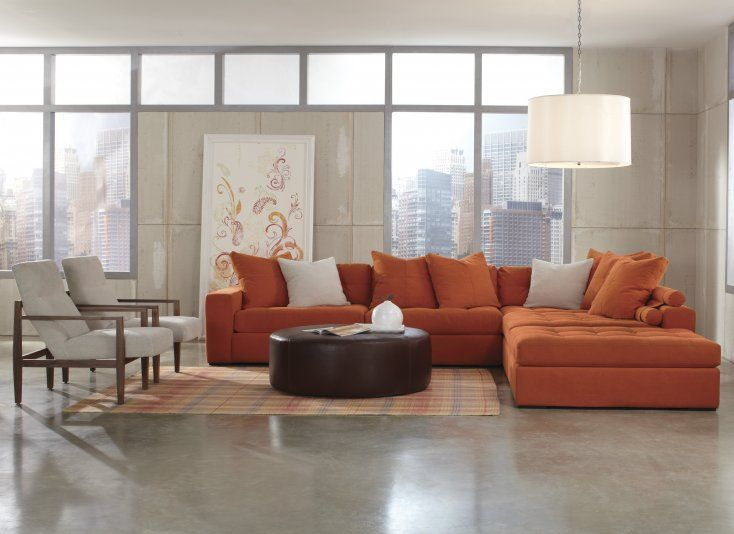 The Jonathan Louis Noah Sectional Is A Contemporary Show Stopper. This  Bright Orange Sectional Is Styled With Wide, Padded Track Arms And Deeply  Tufted Back