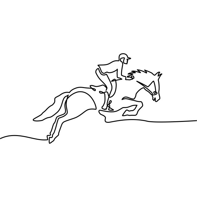 Continuous One Line Drawing Horse And Rider On Horseback Logo Black And White Vector Illustration Vector Horse Silhouette Illustration Png Transparent Clip Animal Line Drawings Line Drawing Face Line Drawing